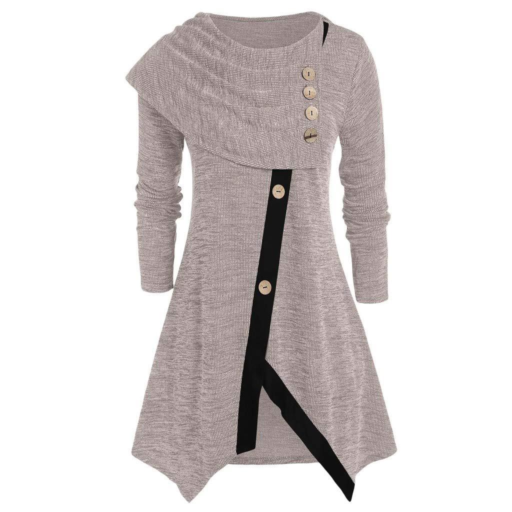 Shusuen Women Long Sleeve Hooded Asymmetric Hem Casual Tunic Button Decored Sweatshirt High Low Hem Pullover Khaki by Shusuen_Clothes