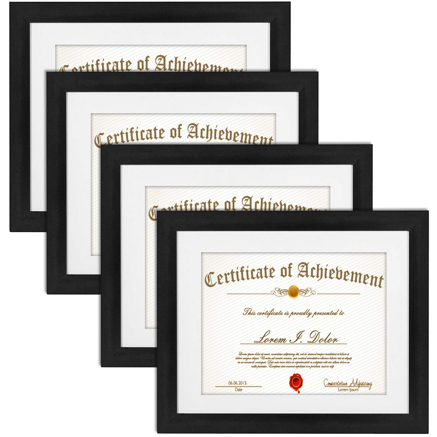 11x14 Document Picture Frame 4 Pack, Matted to 8.5x11 Frame Diploma Frame 8.5x11 Certificate Frame Wall and Desktop Display Document Frame Glass Front Solid Wood Frame 11 x 14, Set of 4