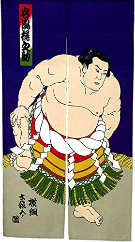LIGICKY Noren Japanese Style Doorway Curtain Sumo Wrestler Printed Window Treatment Door Tapestry for Home Decoration 33.5 Width x 59 Long