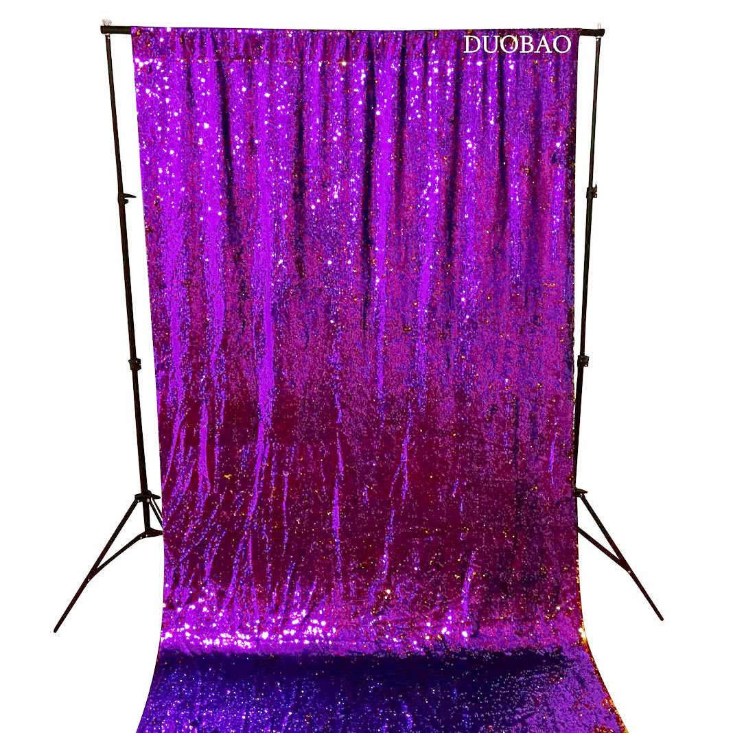 DUOBAO Sequin Backdrop 8Ft Mermaid Sequin Curtains Purple to Gold Reversible Shimmer Backdrop 6FTx8FT Sparkle Photo Backdrop by DUOBAO (Image #3)