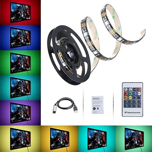Tiras Leds Iluminación 1m de VicTsing, Excelente IP65 Impermeable y Realce Viscoso, 300 MP RGB Retroiluminado Hay 6 Modos, 8 Colores, Cable de Alimentación USB Perfecto para TV, PC, Decoración del Hogar Etc.