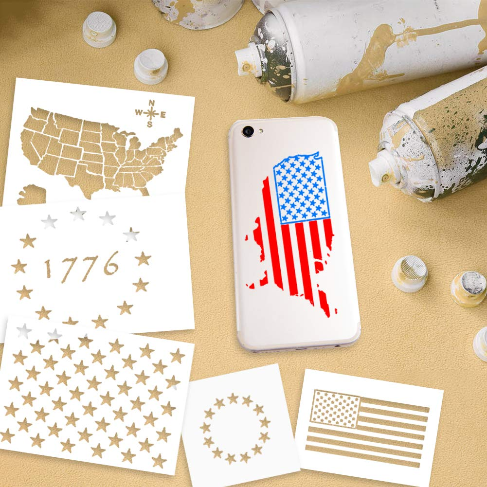 USTOP Plastic Stencil Template, 7PCS Stars U.S 50 Star Maps Flags 13 Star 1776 Stencils for Journal, Planner, Notebook, Wood, Paper, Fabric, Glass, and Wall Art Graffiti Drawing Painting