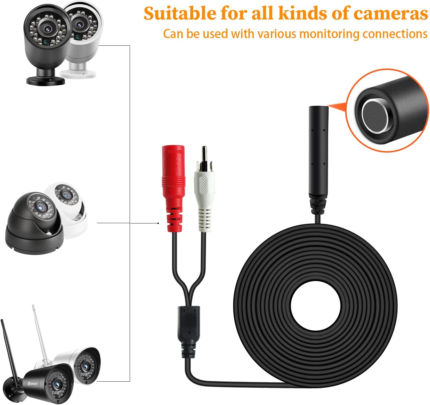 Dericam High Sensitive Microphone for CCTV//IP Camera//DVR//NVR 60ft Cable with Power Splitter Tiny CCTV Audio Pickup Mic Black External Camera Sound Included 12V DC Power Adapter AP1-2BP