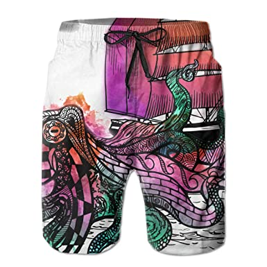 518edf49b0 Image Unavailable. Image not available for. Color: IIwpants Octopus Sports Mens  Swim Trunks Boardshorts Beach Shorts ...