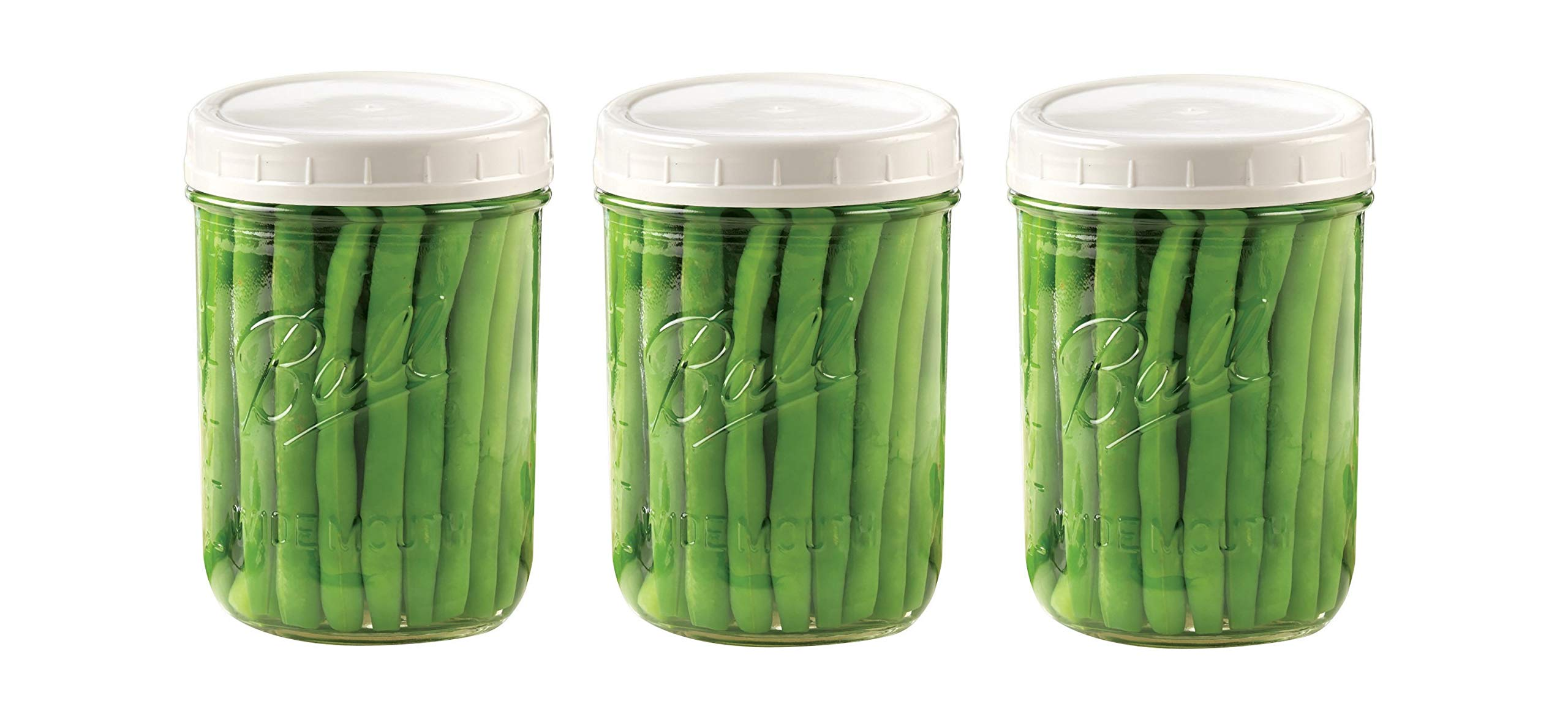 EASY-BUSY Kitchen Combo of Ball 16 oz. (Pint) Clear Glass Mason Canning Jar, With EB White Food Storage Plastic Lids Set of 3, Wide Mouth Caps fit WM Ball & Kerr jars & Containers, Reusable, BPA Free,