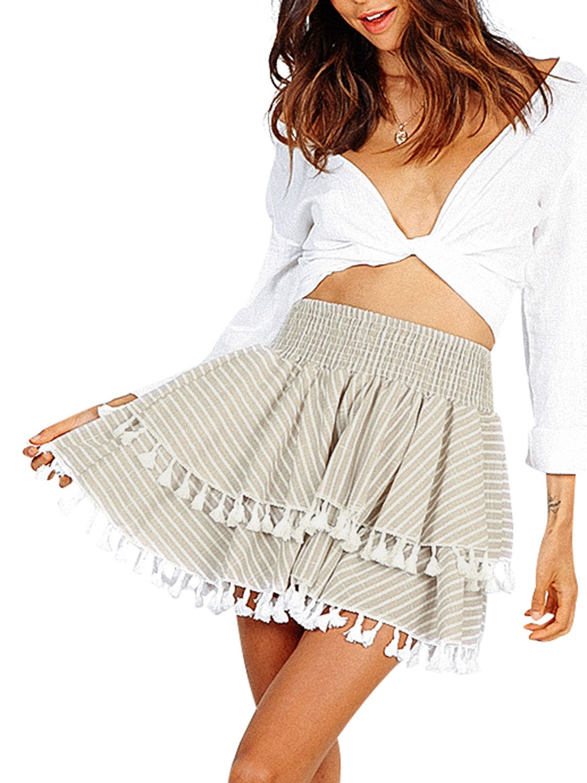 Simplee Women's Summer Mini Skirt High Waist Stripe Short Casual Skirt Stripe US 4-6