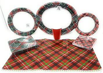 Disposable Plates Napkins Cups Tablecloth Christmas Tartan Tidings Themed Party Supplies 7  sc 1 st  Amazon.com & Amazon.com: Disposable Plates Napkins Cups Tablecloth Christmas ...