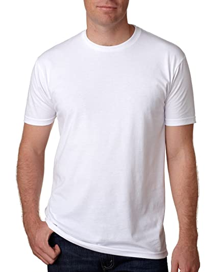 Next Level Apparel Mens CVC Crewneck Jersey T-Shirt, Wht, Large
