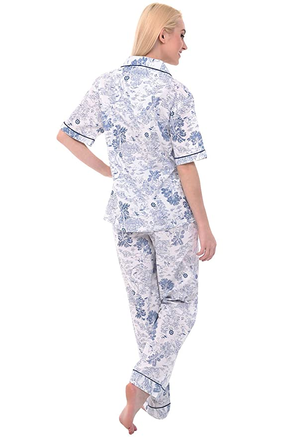 d3916c52bc53a Alexander Del Rossa Women's Lightweight Button Down Pajama Set, Short  Sleeved Paisley Cotton Pjs at Amazon Women's Clothing store: