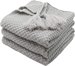"""Mokoya Woven Cotton Throw Blankets, Soft Thick Cable Knitted Blankets, Knit Blanket for Couch,Sofa,Bed,Cozy Decorative Throw Blanket for Home, Gray Knitted Blanket(50""""x60"""", Grey)"""