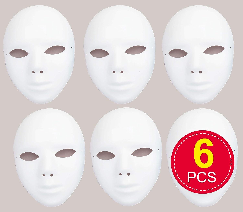Baker Ross Mascarillas plásticas en blanco: decorar su propia máscara es el accesorio ideal para disfraces de Halloween, disfraces, fiestas y más (paquete de 6)
