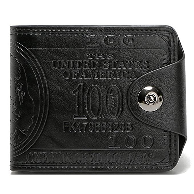 Mens Novelty US 100 Dollar Wallet Bill Money Billfold Safe Purse With Magnetic Buckle-Sibalasi