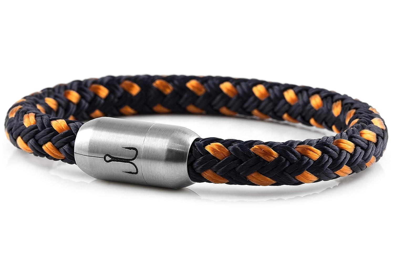 Fischers Fritze Armband Segeltau Makrele Marineblau orange - Handgemacht im Geschenkkarton I Maritim & Wasserfest