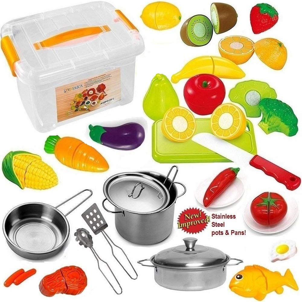 FUNERICA Pretend Play Food Set for Kids - with Beautiful Storage Container - Set Includes Cuttable Play Fruits and Vegetables - Poultry - 3 Mini Stainless Steel Toy Pots and Pans - Knife and More by FUNERICA