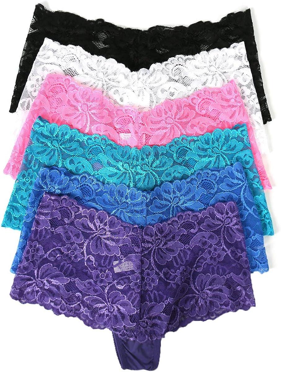 Agdoizry 6 Pack Womens Hipster Lace Trim Boyshort Underwear Panties Sheer Plus Size
