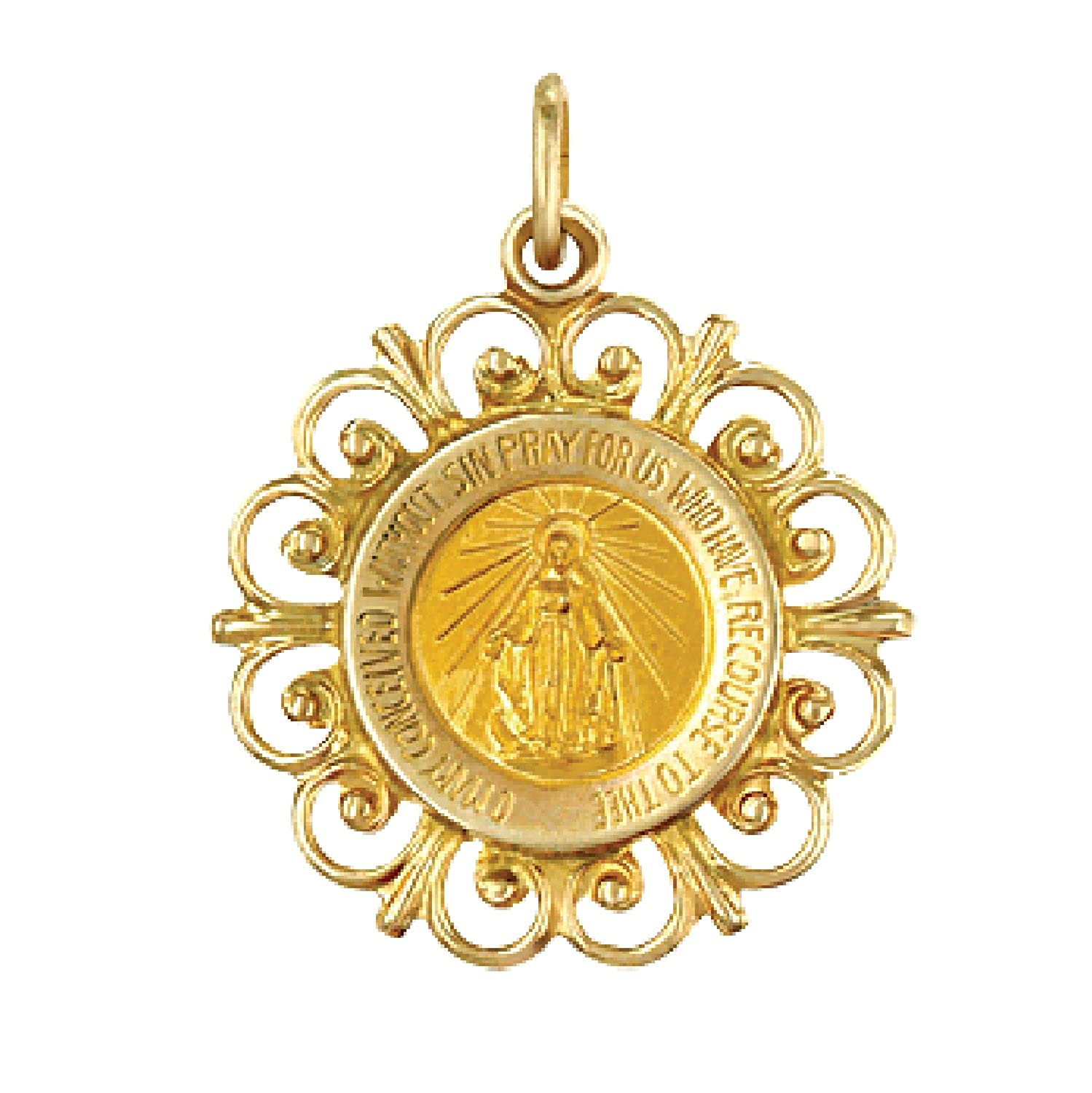 "Genuine 14K Yellow Gold Solid Round Miraculous Medal with Filigree Frame (3/4"")"