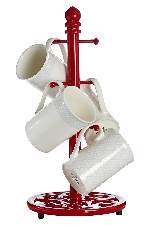 color rojo 6 tazas Premier Housewares Soporte de hierro para tazas