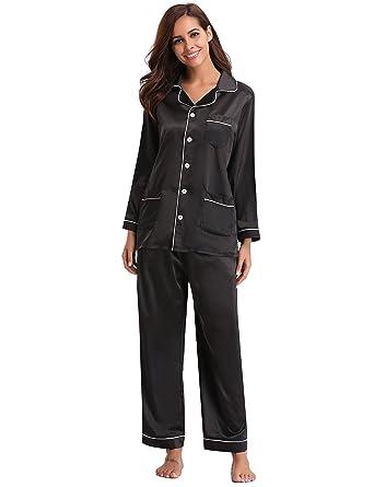 bf4cb9ba5 Abollria Women's Pajamas, Satin Nightwear Set, Long Sleeve Button Up Shirt  & Pants with