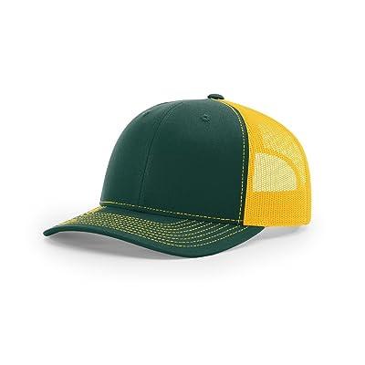 Richardson Dark Green/ Gold112 Mesh Back Trucker Cap Snapback Hat w/THP No Sweat Headliner