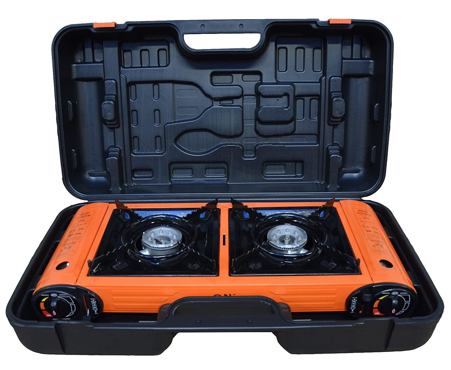 Camping Gas Stove Portable Double Burner Cooker Outdoor BBQ CASE Fontron Ltd