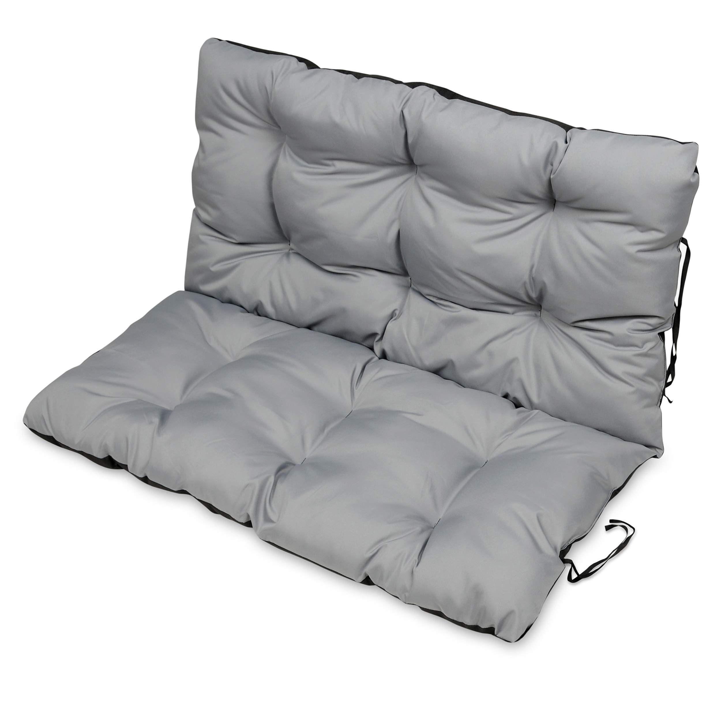 SuperKissen24. Large Garden Bench Seat Cushion Seat Pad - 120x50 and 120x60 cm back - Seat cover for Garden Swing or Garden Sofa - Outdoor/Indoor Long Bench Pillow - Waterproof - grey