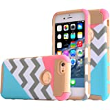 iphone 6 plus case,UUlike[2in1] Heavy Duty Hybrid Hard Case for Apple Iphone 6 6s plus(5.5 inch),6g,6th Generation--Powder Blue Mint Teal and Coral Pink Split Chevron Design Cover (Gold)