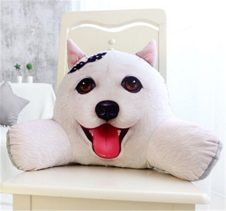 Skyseen 3D Dog Shaped Lumbar Support Backrest Pillow Waist Seat Back Cushion in Home Office School Car,F