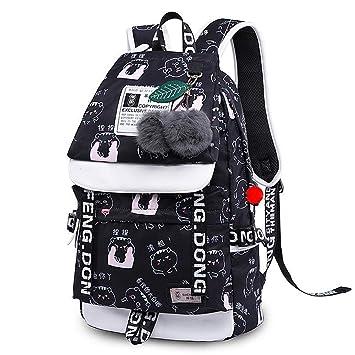 Amazon.com | Emoji Travel Pompom Student Bag Teenage Girls Best Travel Laptop Work Backpacks Female Bagpack Black face bag 42X30X16cm | Backpacks