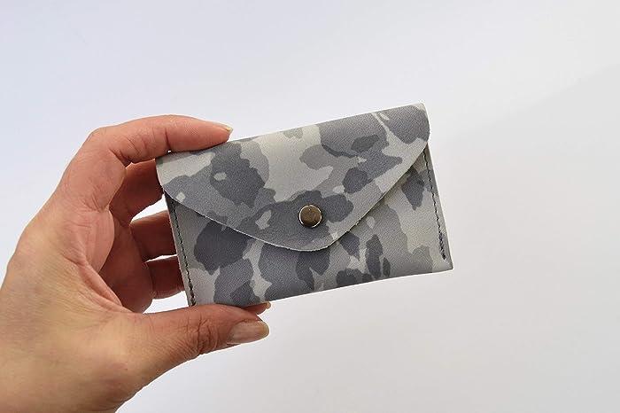 Grau Leder Etui Visitenkarten Kredit Karten Geldbörse