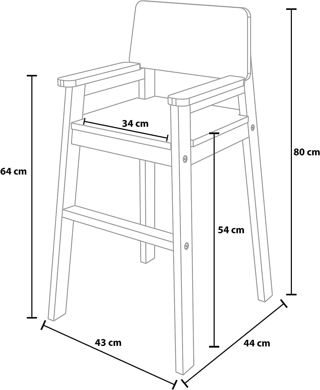 Chaise Haute pour Enfants Plusieurs Couleurs possibles Madyes Chaise Haute en h/être Massif Design Moderne Chaise Haute escalier pour Table de Salle /à Manger Stable et Facile dentretien
