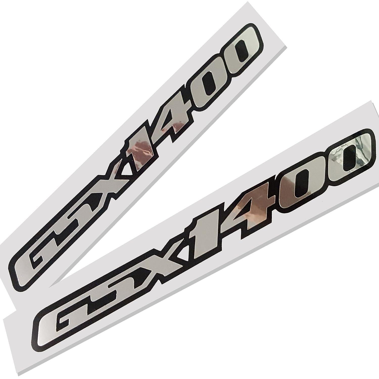 Suzuki GSX 1400?Plata Cromo sobre negro Gr/áficos Pegatinas Pegatinas X 2