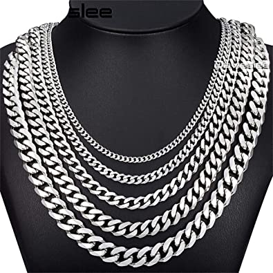 3//5//7//9//11mm Mens Stainless Steel Necklace Bracelet Cuban Curb Chain Gold Tone