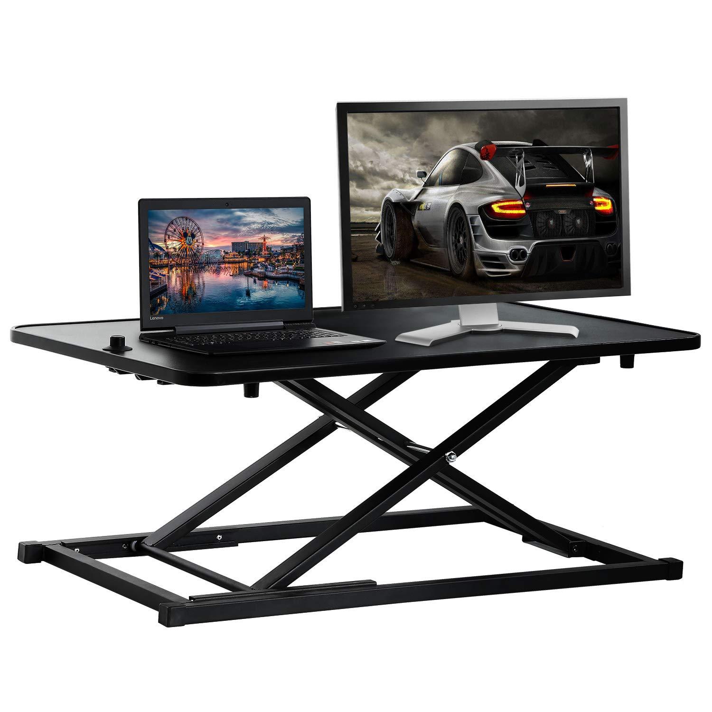 Standing Desk Computer Workstation Stand Up Desks Height Adjustable Sit Stand Converter Laptop Stands Dual Monitor PC Desktop Riser Table 29 inches