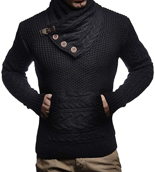 Mens Turtleneck Cable Knit Chunky Pullover Sweaters Button Up Long