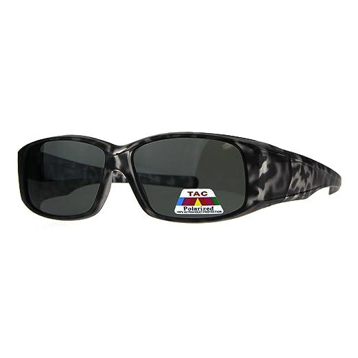 79316c7fe0c8 Womens Polarized Matte Tortoise 56mm Fit Over Rectangular Sunglasses Black