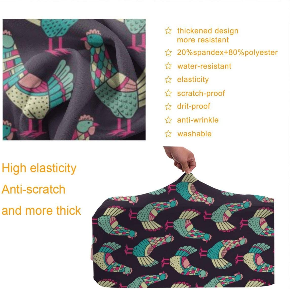 Chickens Pattern Travel Luggage Cover Suitcase Protector Washable Zipper Baggage Cover