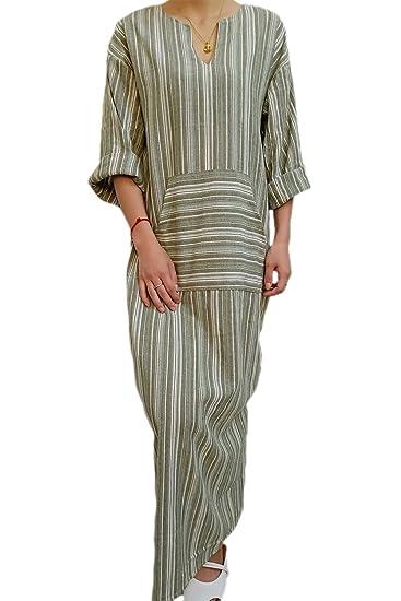 ce28bd62 Womens Linen Maxi Cotton Maxi Dress Stripes Shift Dresses Plus Size with  Pocket Green S
