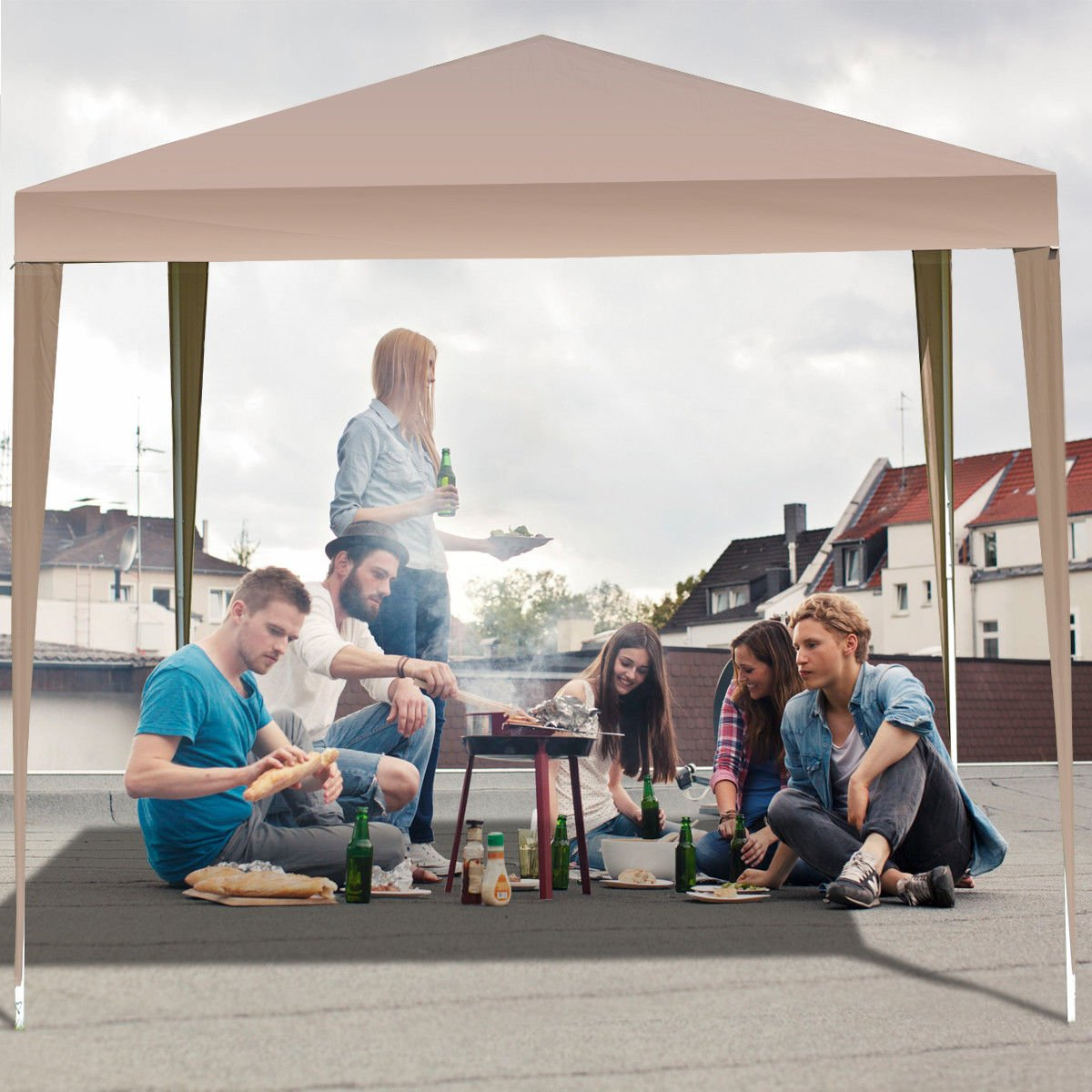 TANGKULA Outdoor Tent 10'X10' EZ Pop Up Portable Lightweight Height Adjustable Study Instant All Weather Resitant Event Party Wedding Park Canopy Gazebo Shelter Tent with Carry Bag (Caffee)