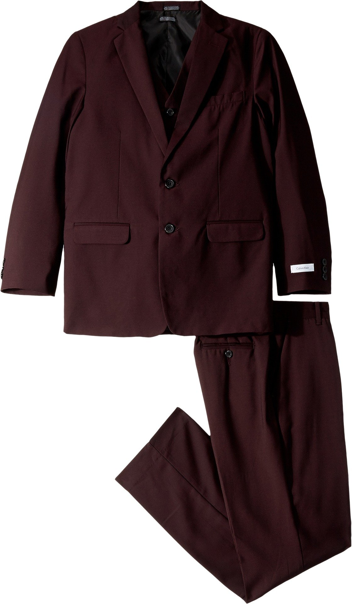 Calvin Klein Big Boys' Shiny Square 3 Piece Suit, Burgundy, 18