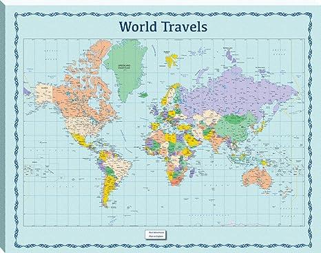 Azul mundo viaje mapa pizarra magnética: Amazon.es: Oficina y papelería
