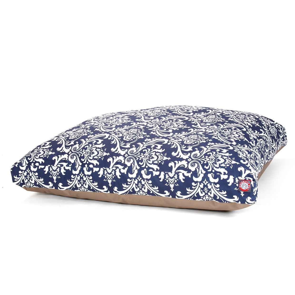 Navy Blue French Quarter Extra Large Rectangle Indoor Outdoor Pet Dog Bed With Removable Washable Cover By Majestic Pet Products