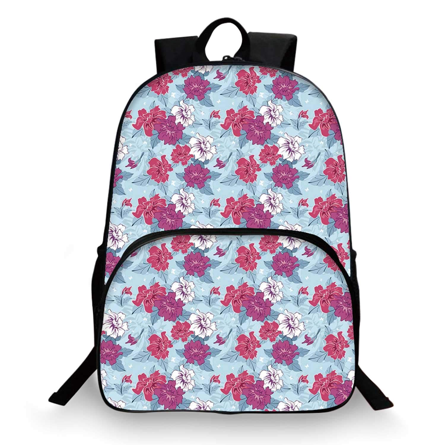 Floral Various Schoolbag,Damask Flourish Lively Blooms and Leaves with Little White Butterflies Decorative for student,11''Lx6''Wx15''H by C COABALLA