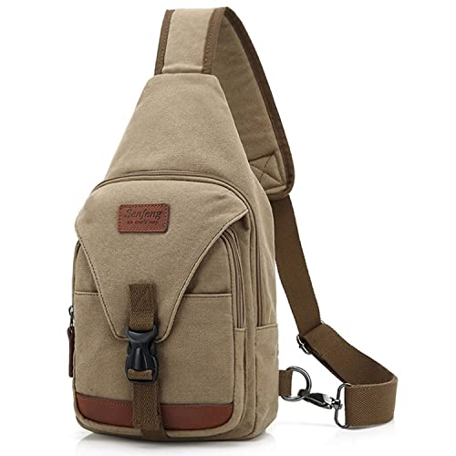 Outreo Pecho Bolso Bandolera Hombre Bolsos de tela Bolsa Vintage Sport Bolsas de Viaje Lona Colegio Pequeñas Casual Chest Bag Outdoor Montaña ...