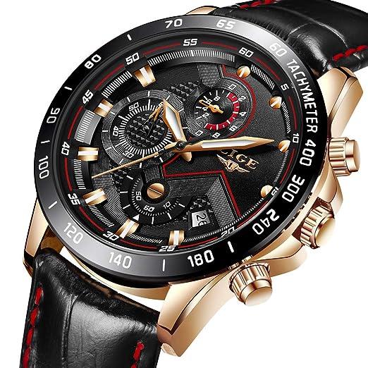 LIGE Relojes para Hombre Moda Impermeable Deportes Reloj de Cuarzo Esfera Negra Reloj de Pulsera de Cuero Cronógrafo Calendario Reloj de Negocios para ...