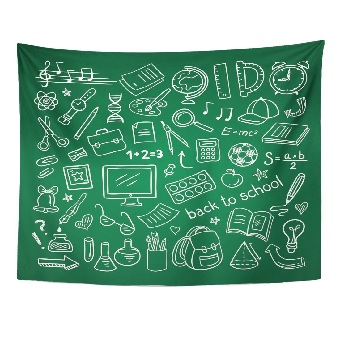 varyhomeタペストリーKids School Doodle教育と科学シンボルStuffホームインテリア壁Hangingのリビングルームベッドルーム寮 60