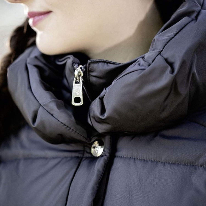 Lauria Garrelli HKM Paris Womens Coat Long Windproof Back Slit 2 Way zip Lined Flattering Figure Warm Outdoor Snow Quilted Jacket