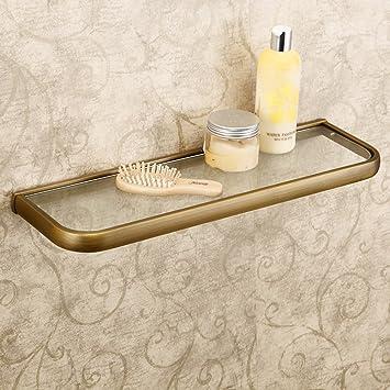 Leyden Retro Bathroom Accessories Solid Brass Antique Brass Finished Glass  Bathroom Shelf Towel Holder Towel Bars