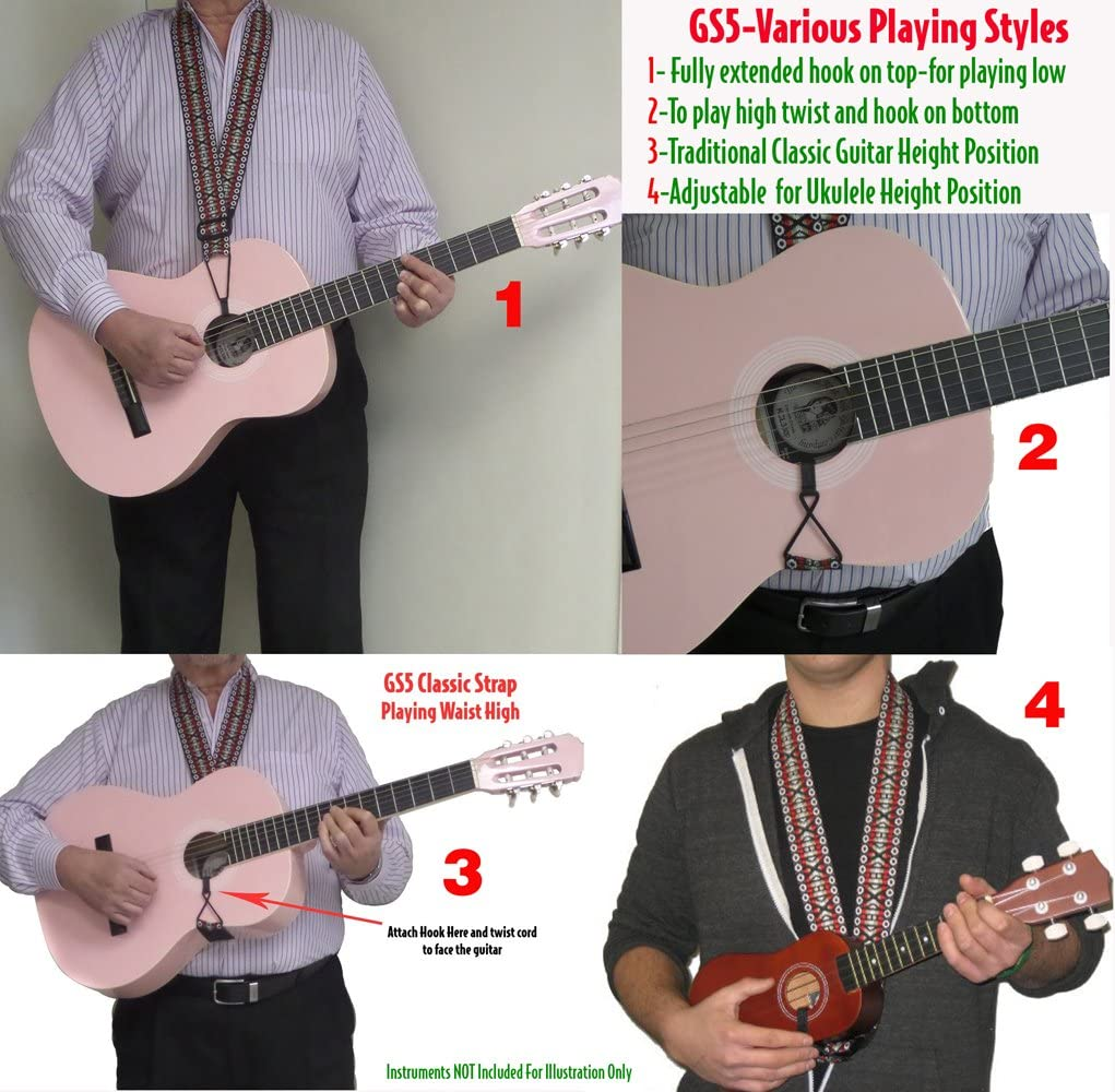 Burgundy Sand Woven Tapestry//Hootenanny Patterns Performance Plus Classical Guitar//Ukulele Strap GS5-RT