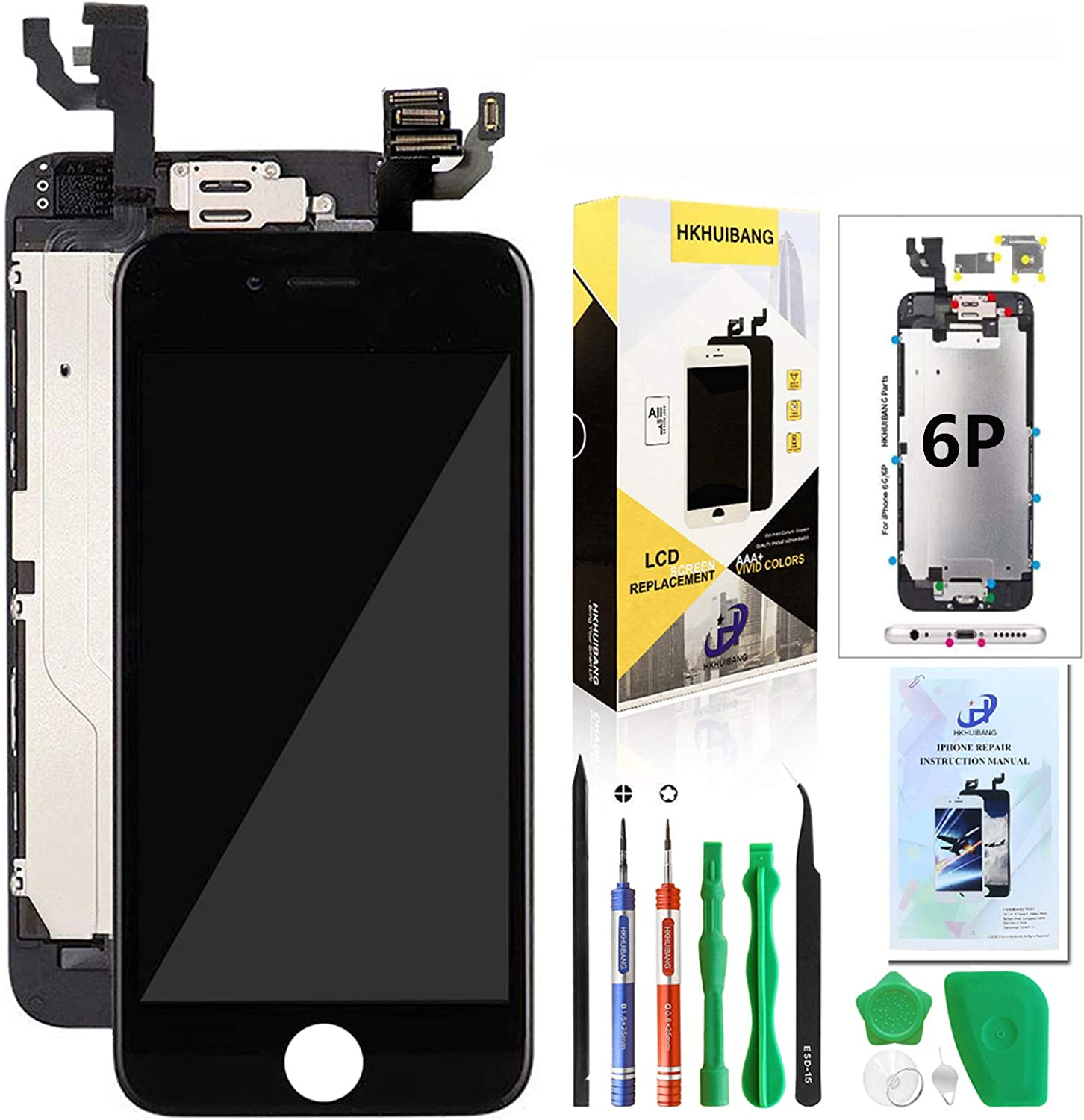 Compatible with iPhone 6 Plus Screen Replacement Black 5.5'',Hkhuibang Pre-Assembled LCD Touch Digitizer Display Full Assembly with OEM Front Camera Proximity Sensor Earpiece Speaker Repair Tool