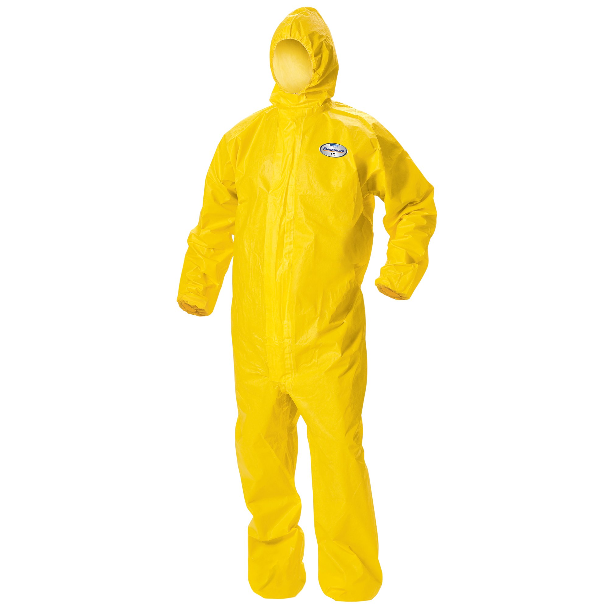 Kleenguard A70 Chemical Spray Protection Coveralls (09814) Suit, Hooded, Zip Front, Elastic Wrists & Ankles, XL, Yellow, 12 Garments / Case